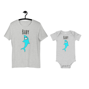 baby shark cute mockup of onesie and shirt